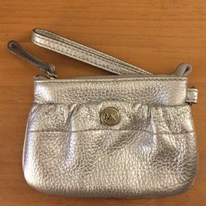 Michael Kors Small Wrist Coin Purse Wallet Silver